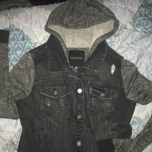 Hooded Distressed Look Black Denim Jacket